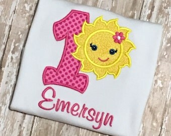 You Are My Sunshine Birthday Shirt Applique Embroidery