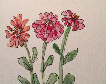 Zinnias Watercolor Card / Hand Painted Watercolor Card