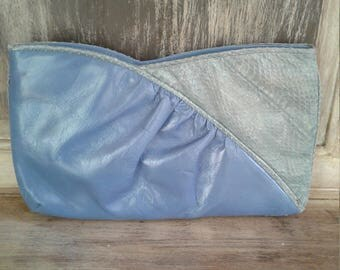 80s IMPO—Blue and Grey Two-Tone Clutch—Leather and Snakeskin—Colorblock—Has Shoulder Strap