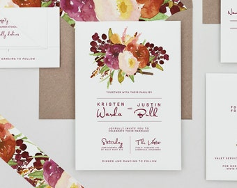 Rustic Floral Poster Wedding Invitations,Boho Chic Wedding Invites,Fall Floral Wedding Invitation,Deep Red Floral Wedding Invite,Autumn,Wine