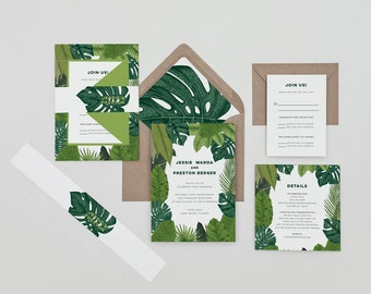 Modern Tropical Wedding Invitation Template,Banana Leaf Wedding Invitation Digital Download,Boho Palm Frond Wedding Printable Invitation Set
