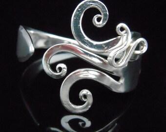 Vintage Jewelry Silver Fork Bracelet in Original Fancy Design Number Seven