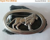 ON SALE Lion Brooch, J J Pewter Metal Lion Brooch, Animal Jewelry, Big Cats Jewelry