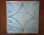 "Genuine Antique Ceiling Tile -- 12"" x 12"" -- Pale Green Paint -- Beautiful Victorian Design Photography Prop"
