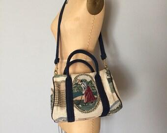 large tapestry weekender bag | golfing woman tote