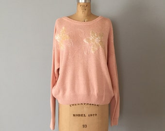 Lord&Taylor silk and angora sweater | sequined flowers blush pink sweater