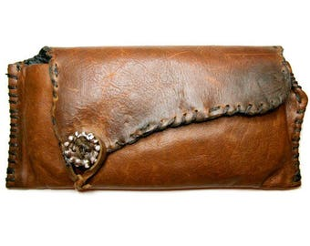 Leather Clutch Hand Sewn with Sterling Silver .925 button