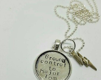 Ground control to Major Tom - David Bowie charm handstamped