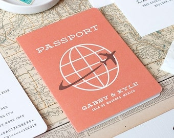 Passport Save the Date, Destination Save the Date, Boarding Pass Save the Date, Airplane Travel Wedding Invitation - Flat Printed - SAMPLE