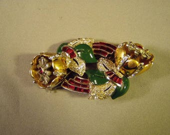 Vintage 1930s Art Deco Coro Duette Quivering Camillias Trembler Brooch or 2 Dress Fur Clips 9186