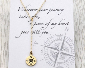 SALE Gold Compass Lariat Necklace, Message Card, Compass Y Necklace, Retirement Gift, Graduation Gift, For Best Friends/Sisters/Daughters