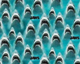 Fabric by The Yard Jaws Fabric Great White Sharks Springs Creative Fabric Cotton Quilt and Apparel Fabric