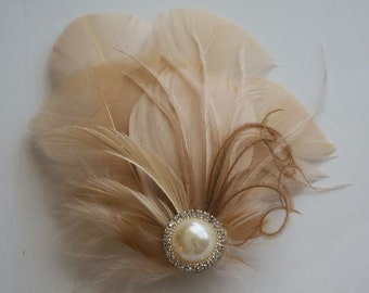 Nude Beige Tan Champagne Feather Hair Clip Hairpiece 20's Fascinator Pearl Rhinestone EVANGELINE Bride Bridal Bridesmaids Prom Custom Colors
