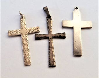 3x Sterling Christian Cross Pendants... c.1960s Vintage