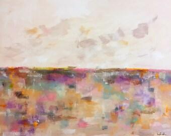 Large Colorful Abstract Landscape Original Painting -Valentine Landscape 48 x 36