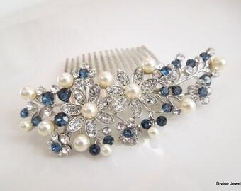 Bridal Blue Swarovski Crystal Pearl Wedding Comb Wedding Hair Accessories Vintage Style Blue Leaf Rhinestone pearl Bridal Hair Comb PAMELA