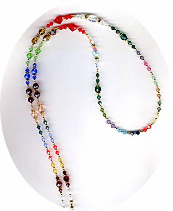 MAGNIFICENT Swarovski Crystal Eyeglass Chain or ID Badge Lanyard