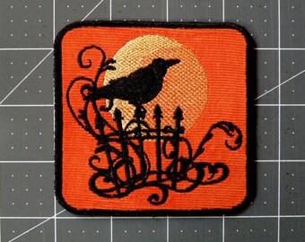 "Raven Sunset Iron on Patch 3.5"""