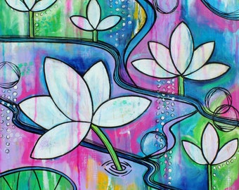 Lotus Water Lily pink blue art Art Original painting  by Melanie Douthit