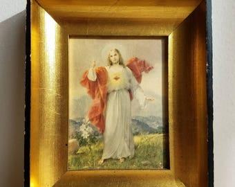 Vintage Jesus Resurrection Easter Lillies Sacred Heart Print in Gold Black Wood Shadowbox Frame, Religious Icon Art