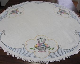 Vintage Hand Embroidered Round Linen Flower Basket Kitchen Tablecloth Dining