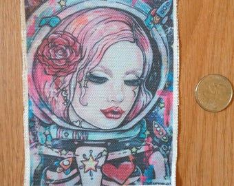 Astronaut Girl  - Sew On Patch Tattoo Art Pink Hair Cute with Rockets Space Stars Lowbrow Creepy Cute Gift