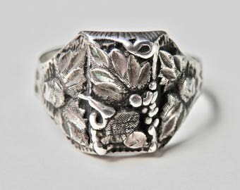 Antique Silver Signet Ring Sterling Silver Black Hills Gold Vintage Signed Jewelry Size 12 Ring Mens Ring Vintage Man 925