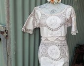 rustic romance embroidered tunic - bohemian blouse - hippy top - m / lg