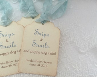 Snips &  Snails and Puppy Dog Tags Tags Baby Shower Tags Set of 10