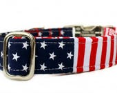 Red White and Blue Dog Collar Nickel Plate Hardware, Memorial Day Dog Collar, 4th of July Dog Collar, Labor Day Dog Collar Stars and Stripes