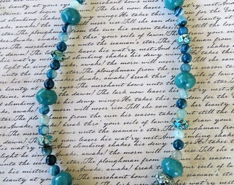 Mosaic Blue Earthstone Blue Dyed Jade And Blue Agate Beaded Necklace