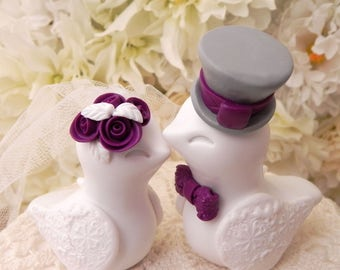 Love Birds Wedding Cake Topper, White, Plum and Grey, Bride and Groom Keepsake, Fully Customizable