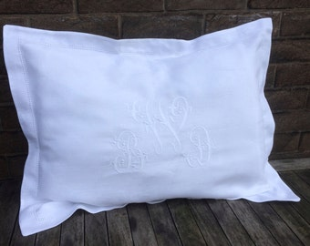 White 100% Linen King Pillow Sham, Custom Embroidered Monogram Luxury Oxford Pillowcase Bedding, Personalized, Heirloom Wedding Gift