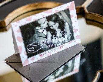 """Blush and Grey, Valentines Day Wedding, Picture Thank You Card, Cute Stationery - """"Romantic Flourish"""" Folded Photo Thank You Cards - DEPOSIT"""