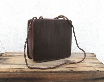 15% OFF Out Of Town SALE Vintage Chocolate Brown Ribbed Tote Shoulder Bag