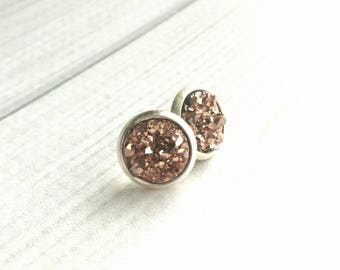 Pink Druzy Earrings - rose gold faux drusy studs - chunky resin 3D imitation stone rock - sparkle glam round silver bezel gem style trend