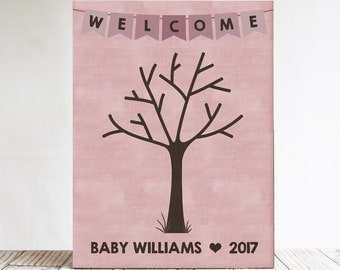 Baby Shower Fingerprint Tree Sign, Guest Book Alternative, Welcome Baby Guest Book Sign