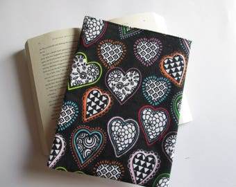 Retro shaped hearts Paperback book cover, book bag, book protector, book sleeve