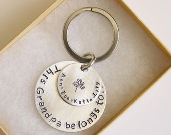 Personalized Grandpa Gift from Kids, Keychain, Key Fob, Customized Keychain,This Grandpa belongs to, Keychain Grandfather, Grand Dad Gift