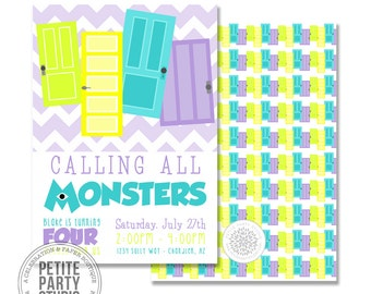 Monsters Inspired Printable Birthday Party Invitation - Petite Party Studio