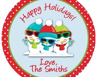 Tropical Snowman Christmas sticker --  Snowman Sticker   Choose Wording