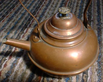 Copper Teapot Tea Kettle Old in Wonderful Condition