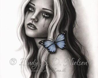 Blue Girl Butterfly Fairy Art Print Emo Fantasy Zindy