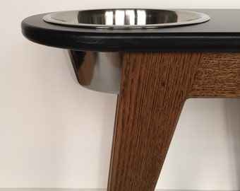 16 inch high elevated dog feeder - raised dog feeder - modern dog feeder - feeding stand - black/walnut