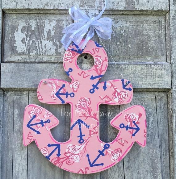 Custom patterned  Anchor door hanger, nautical door hanger, Lake wall sign, Anchor decoration, Lake House Door hanger, Beach, sorority sign