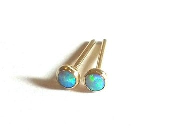 Opal 14k SOLID YELLOW Gold Studs -Tiny Opal Post Earrings - 3 mm -Yellow Gold Opal Earrings- Blue Opal Studs-Opal Yellow Gold-Made To Order.