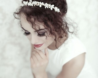 Silver bridal tiara - Bridal crystal tiara  - Crystal pearl tiara
