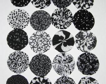 """Fabric YoYos, 20 Black And White, 2"""" Size, Appliques, Quilting, Embellishments"""