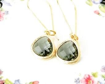 Gift Gray earrings Gray teardrop earrings Gray dangle earrings Gray drop earrings Gold teardrop earrings Bridesmaid earrings Gift for her