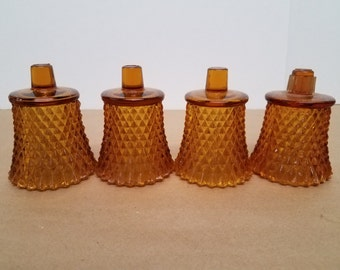 Vintage Set of 4 Amber Diamond Pattern Votive Cups